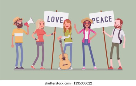 Hippie movement demonstration. Youth subculture rejects social customs, young happy people with hippy appearance, having long hair holding love, peace placards. Vector flat style cartoon illustration