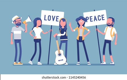 Hippie movement demonstration. Youth subculture rejects social customs, young happy people with hippy appearance, long hair holding love, peace placards. Vector illustration, faceless characters