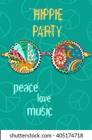 Hippie party poster. Hippy background with sun glasses. Gypsy ornamental design. Pacifism pattern. Illustration in zentangle style.