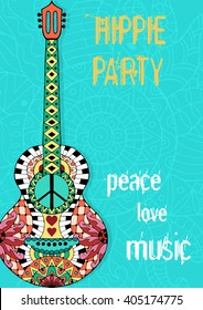 Hippie party poster. Hippy background with acoustic guitar. Gypsy ornamental design. Pacifism pattern. Illustration in zentangle style.