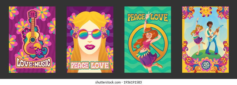 Hippie peace and love posters happy smiling people