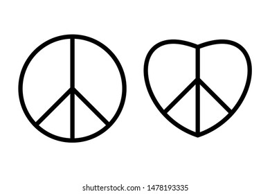 Hippie peace sign black thin line icons.