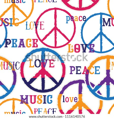 Hippie Peace Symbol Peace Love Music Vector de stock (libre de ...