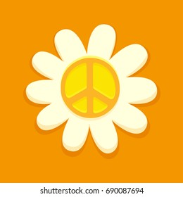 Hippie peace symbol on daisy flower, bright orange vector illustration.