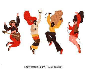 hippie people set in flat style isolated vector illustration