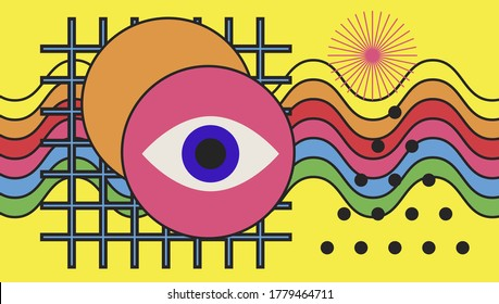 Hippie psychedelic 70s style art collage with rainbow and eye. Surreal trendy Zine culture style vector illustration for visual hallucinations subject.