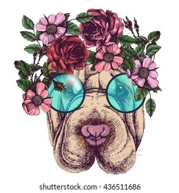 Hippie sharpei in the roses wreath and round sunglasses. Chic dog portrait. Fashion vector illustration for your blog, logo and other design.