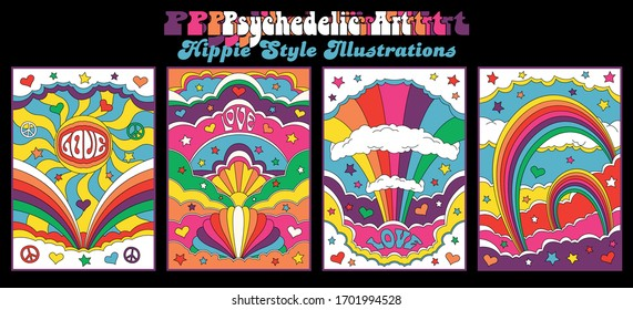 Hippie Style Illustrations Psychedelic Art Posters, Love, Stars, Clouds, Hearts, Peace Symbols