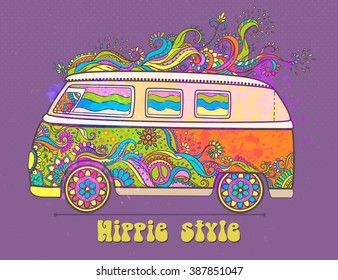Hippie style. Ornamental vintage background. Love and Music with hand-written fonts, hand-drawn doodle background and textures. vector illustration. Woodstock Music and Art Fair. We love hitchhiking!