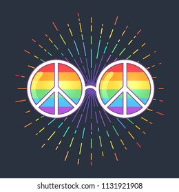 Hippie Sunglasses with Rainbow lenses and peace sign. Gay Pride. LGBT concept, vector colorful illustration. Sticker, patch, t-shirt print, logo design.