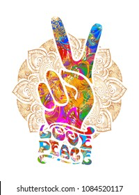 hippie symbols two fingers as a sign of victory, a sign of Pacific and letterin love and peace. In the style of the '60s,' 70s with elements of mehendi.