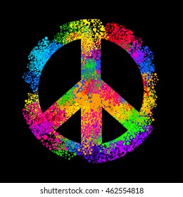hippie symbols two fingers as a sign of victory, a sign of Pacific and letterin love and peace. In the style of the '60s,' 70s.
