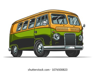 Hippie vintage bus in cartoon style. Vector illustration