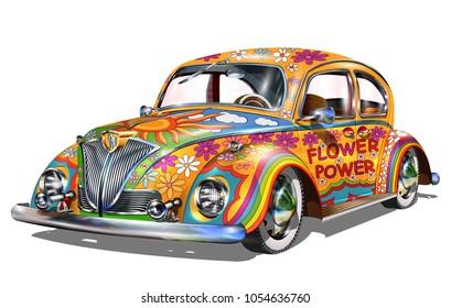 Hippie vintage car.
