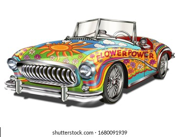 Hippie vintage car isolated on white background.