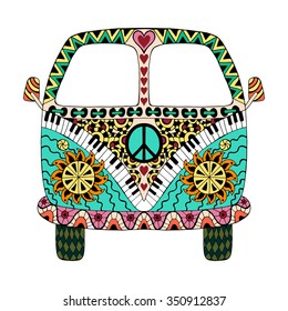 Hippie vintage car a mini van in zentangle style for adult anti stress. Coloring page with high details. Made by trace from sketch. Hippy color vector illustration. Retro 1960s, 60s, 70s
