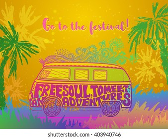 Hippie vintage car a mini van Ornate background Love and Music with hand-written fonts hand-drawn doodle background and textures Hippy color vector illustration Retro 1960s 60s, 70s Woodstock festival