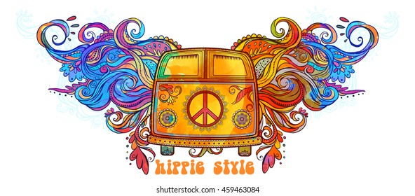 Hippie vintage car a mini van. Ornamental background. Banner color vector illustration. Psychedelic Border and Retro 1960s, 60s, 70s