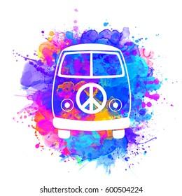 Hippie vintage car a mini van watercolor color vector illustration. Retro 1960s, 60s, 70s