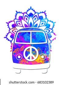 Hippie vintage car a mini van watercolor color vector illustration. Retro 1960s, 60s, 70s Mandala