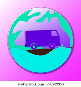 Hippie vintage car a mini van. Ornamental icon. Hippy color vector illustration.