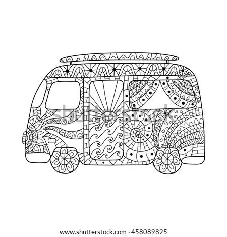Hippie Vintage Car Mini Van Zentangle Vector de stock (libre de ...