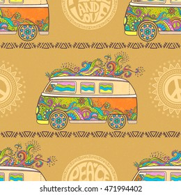 Hippie vintage car a minivan. Ornamental background. Love and Music, textile doodle background and textures color vector illustration. Retro 1960s, 70s style