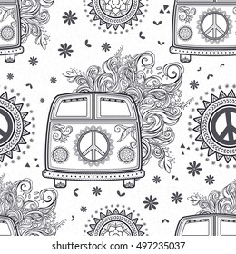 Hippie vintage car a minivan. Ornamental background. Love and Music, woodstock with hand pattern fonts, textile doodle background and textures. Hippy color vector illustration. Retro 1960s, 70s style