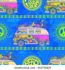 Hippie vintage car a minivan sign popular for flower children Love and Music, with hand pattern fonts textile background and textures. Hippy color vector illustration. Retro 1960s, 70s style