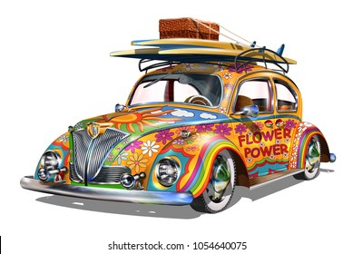 Hippie vintage car with surfboards.