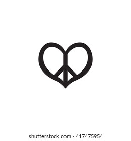 Hippie vintage peace symbol icon. Pacific sign in heart's shape logo. Hippy vector illustration. Retro 1960s, 60s, 70s. Pacifism pattern.