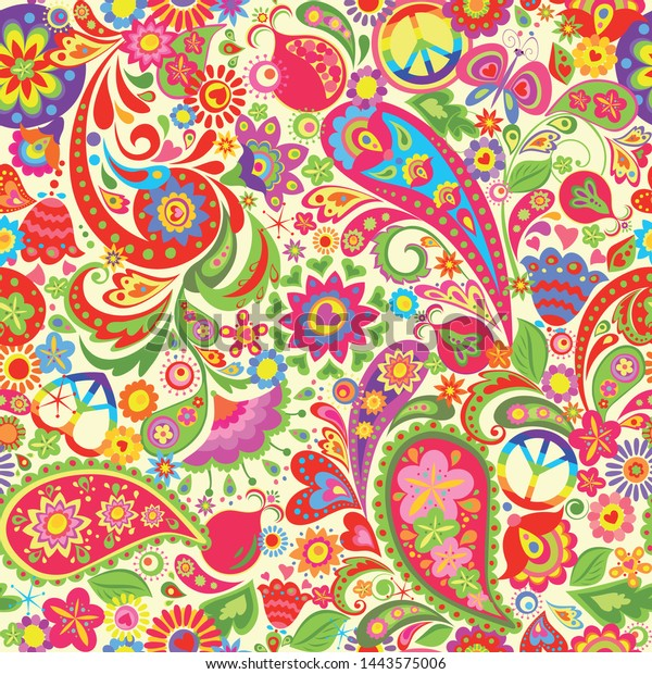 Hippie Vivid Colorful Wallpaper Abstract Flowers Stock