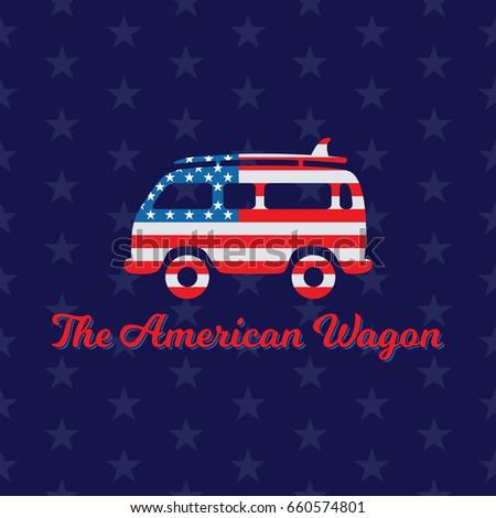 Hippie Wagon Painted American Flag Creative Stock Vektorgrafik