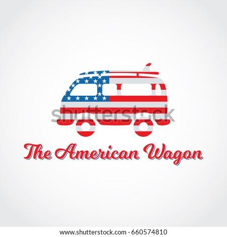 Hippie Wagon Painted American Flag Creative Stock Vector Royalty