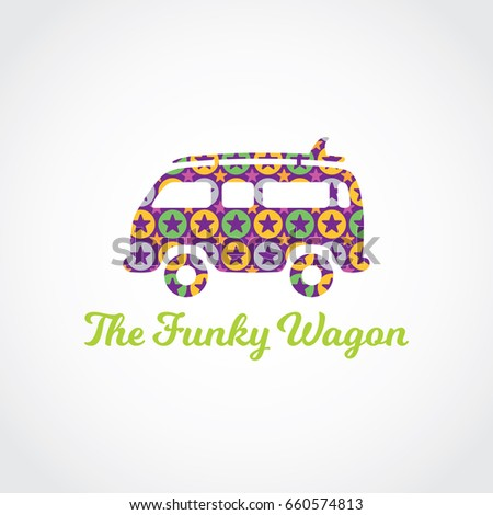 Hippie Wagon Painted Colorful Stars Creative Stock Vector Royalty