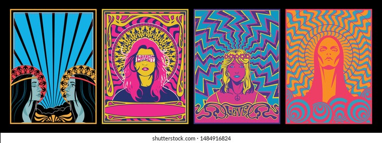 Hippie Women, Psychedelic Posters 1960s, 1970s Style
