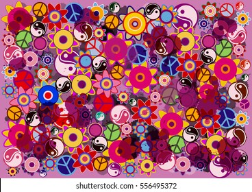 hippies colorful vector background with flowers, icons and watercolor blobs