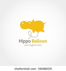 Hippo Balloon Logo Design Template.