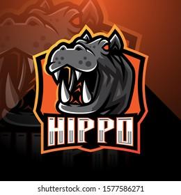 Hippo esport mascot logo design