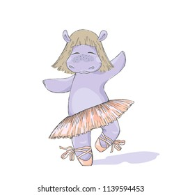 Hippo girl ballet dancer. Cute cartoon character.