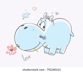 Hippo gives a flower. Vector Illustration