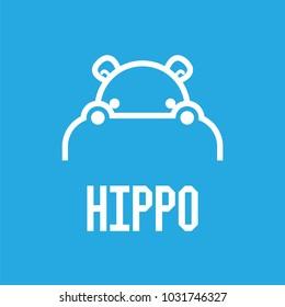 Hippo Head Logo design vector template. Hippopotamus animal Logotype concept line art style. Vector illustration.