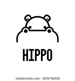 Hippo Head Logo design vector template. Hippopotamus animal Logotype concept lineart style. Vector illustration.