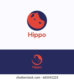 Hippo head logo. Hippopotamus orange deep-blue logotype. Modern retail hippo logo template