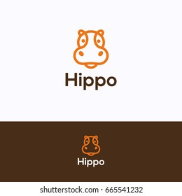 Hippo head logo. Hippopotamus orange dark-brown logotype in line style. Friendly retail hippo logo template