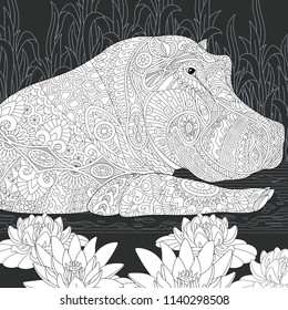 Hippo. Hippopotamus drawn in line art style. Lotus flowers (water lily). Coloring book. Coloring page. Zentangle vector illustration.
