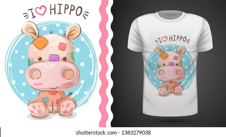 Hippo, hippopotamus - idea for print t-shirt. Vector eps 10
