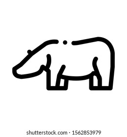Hippo Icon Vector. Outline Hippo Sign. Isolated Contour Symbol Illustration