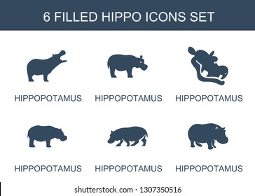 hippo icons. Trendy 6 hippo icons. Contain icons such as hippopotamus. hippo icon for web and mobile.