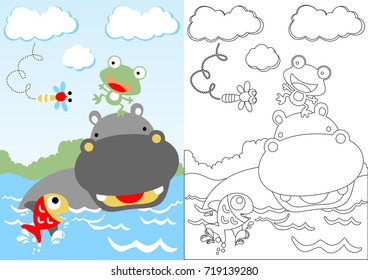 hippo with little friends playing water, vector cartoon, coloring page or book